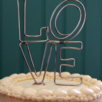 """Stacked """"Love"""" Wedding Cake Topper"""