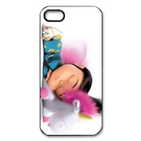 Despicable Me Minion Agnes Gru Sleeping Pink Bacground Protector for Iphone 5 5s At&t Sprint Verizon hard case fashion Popular plastic durable cover creative gift ultrathin Personalized High Quality by iDesign Studio