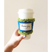 Two tone crocheted knitted inspirational coffee cup sleeve cozy