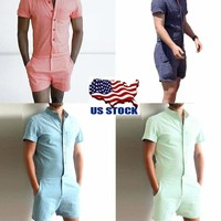 US Men Short Sleeve Solid Coverall One Piece Jumpsuits Pants Trouser Romper S-XL