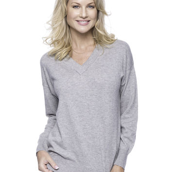 Cashmere Blend Deep V-Neck Sweater - Heather Grey