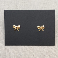 Small Bow Stud Earrings in Gold with Sterling Silver Posts
