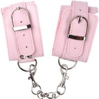 OptiSex Lush Leatherette Heavy Duty Wrist Cuffs with Silver Chain, Blushing Pink