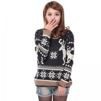Christmas Moose elk sweater soft comfortable black and gray sweaters