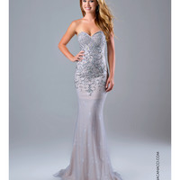 Strapless Silver Embellished Lace Gown