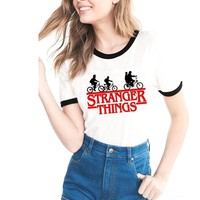 Stranger Things Tshirt Women 2018 Summer Letter Printing T-shirts Bts Funny Tee Shirt For Female Cotton Top Camiseta Mujer