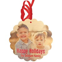 Photo Card and Holiday Ornament on Real Wood Veneer