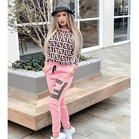 FENDI Women Casual Letter Pattern Print Long Sleeve Trousers Set Two-Piece