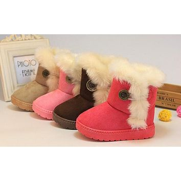 2018New Winter Children Snow Boots Thick Warm Cotton-Padded Kids Shoes Slip-resistant Buckle Suede Boots Plush Girls Boots
