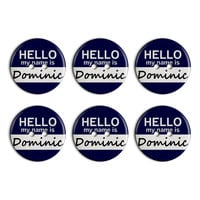 Dominic Hello My Name Is Plastic Resin Button Set of 6