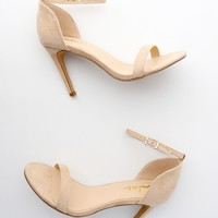 Ana Natural Suede Ankle Strap Heels