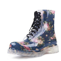 Ladies Rain Lace Up Water Boots Kitten Heels Mixed Colors Slip Resistant Best Seller Korean Galoshes Bandage Ankle Floral