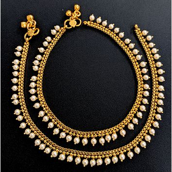 Faux pearl bead dangling gold imitation anklets - Design 1