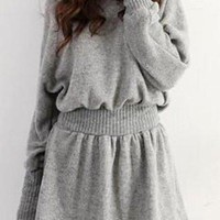 Gray Elastic Waist Long Sleeve Knitted Dress