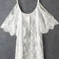 White Off-Shoulder Lace Crochet Ruffled Sleeve Shift Mini Dress