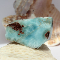 Larimar 14g 70ct Slab Marbled Aqua Blue Lapidary Cabbing Display Caribbean Beach Pectolite Rough Raw Stone Unique OOAK