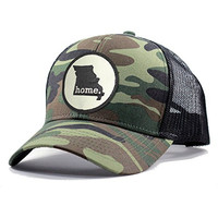 Homeland Tees Men's Missouri Home State Army Camo Trucker Hat - Black