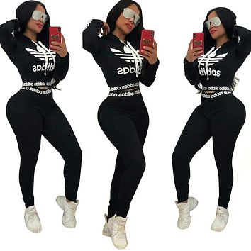 Adidas Casual Print Hoodie Top Sweater Pants Trousers Set Two-piece