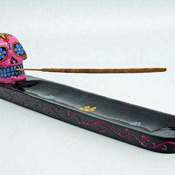 Day of the Dead All Saints PINK sugar skull incense burner Día de los Muertos