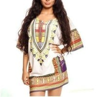 Dashiki Print Dress White