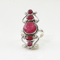 Ruby Sterling Silver Vintage Style Ring - keja jewelry
