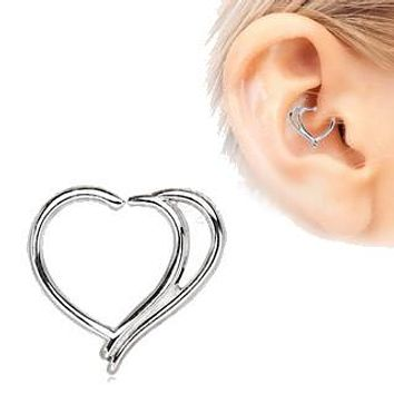 316L Stainless Steel Double Heart Cartilage Earring