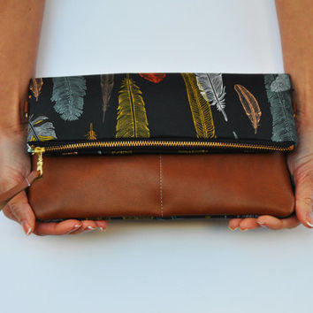 FOLDOVER CLUTCH, feather clutch, cross body bag, leather clutch purse, Wallet, vegan clutch bag, everyday casual bag, gift for her