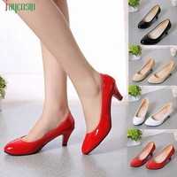 Shoes woman saltos mulheres Nude Shallow Mouth Women Office Work Heels Shoes Elegant L