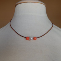 Pearl on leather, freshwater pearl, coral beads, greek leather necklace with pearls, boho chic, trendy, pearl necklace, pearl and coral