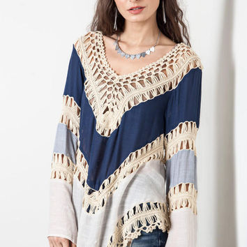 Boho long sleeve crochet blouse
