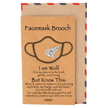 Chantal Wolf Face Mask Brooch, Gifts for Women