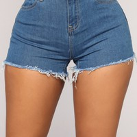 A Fray A Day Denim Shorts - Medium Blue Wash