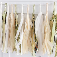Ivory and Gold Tissue Paper Tassel Pennant