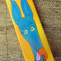 Greyhound original acrylic painting whimsical hound blue yellow silly old greyhound 4x12 canvas