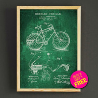 Wheeled Vehicle Patent Print Bicycle Blueprint Poster House Wear Wall Art Decor Gift Linen Print - Buy 2 Get FREE - 300s2g