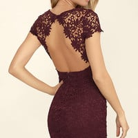 Hidden Talent Backless Burgundy Lace Dress
