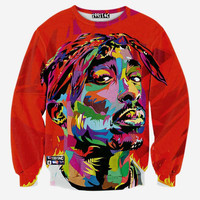 FG1509 [Andy] Hip hop 3d sweatshirt for men autumn pullovers print rapper Tupac 2pac hoodies long sleeve tops red color