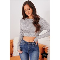 Much Admired Long Sleeve Crop Top (Grey)