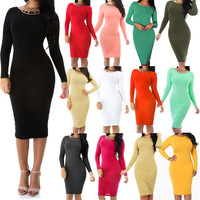 New Sexy Fitted Long Sleeve Bodycon Stretch Crewneck Midi Dress Size SML GT5639