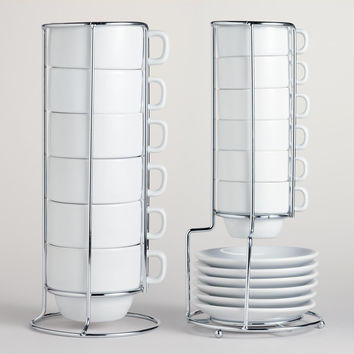 White Stacking Mugs or Espresso Cups, Sets of 6 - World Market