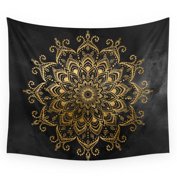 Society6 Black And Faux Gold Tapestry Wall Tapestry