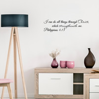 "I can do all things through Christ.. Philippians 4:13 Religious Inspirational Bible Verse-22""x6"""