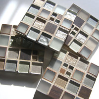 Silver Copper Bronze Glass Mosaic Coasters  Copper Coaster  Metal Coaster Glass Coaster  Copper Decor  Unisex Gift  Modern Decor