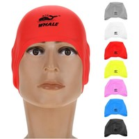 2018 New 7 Colors Swim Pool Hat Diving Swimming Cap Silicone 3D Ear Cover Swimwear Waterproof Free size for Men & Women Adults