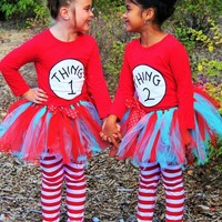 """""""THING 1 AND THING 2"""" TUTU COSTUMES- INCLUDES LEGGINGS!"""