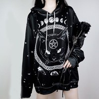 Oversized Harajuku Unisex Hoodies Gothic Moon Phase Starry Pattern Witchcraft Cat Printed Women Men Loose Sweatshirts Plus Size
