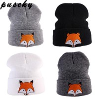Puseky Cute Baby Hat Winter born Infant Toddler Kids Girl&Boy Hats Infant Soft Warm Crochet Knit Hat Fox Beanie Cap