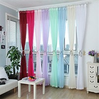 Fashion Terylene Tulle Window Screening Blinds Sheer Voile Gauze Curtain for Cafe Kitchen Living Room Balcony Translucidus Decor