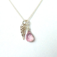 Guardian angel necklace, breast cancer necklace, memorial necklace, pink quartz, sterling silver, AAA gemstone
