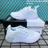 DCCK A088 Adidas 2018 Flyknit Sports Shoes White Pink